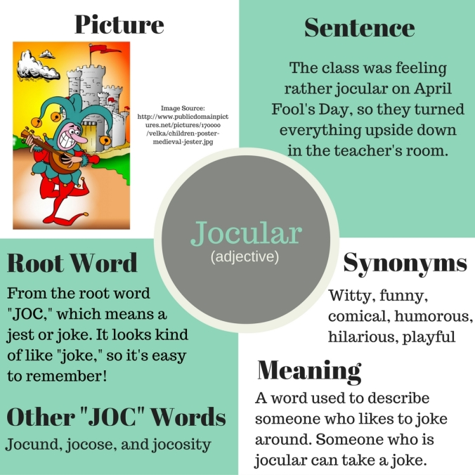 jocular, vocabulary, root word